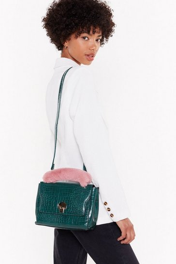 Womens Green WANT Look No Fur-ther Croc Faux Leather Crossbody Bag