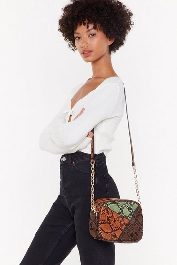 Womens Tan WANT What Do You Snake Me For Crossbody Bag