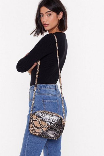 Womens White WANT What Do You Snake Me For Crossbody Bag