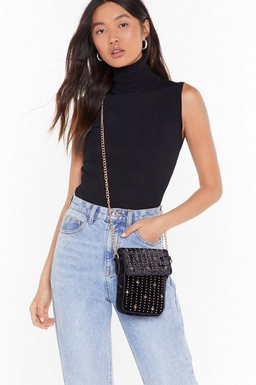 Womens Black WANT Stud Out From the Crowd Velvet Crossbody Bag