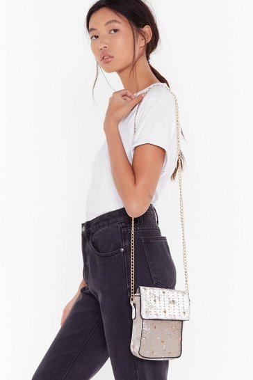 Womens Oyster WANT Stud Out From the Crowd Velvet Crossbody Bag