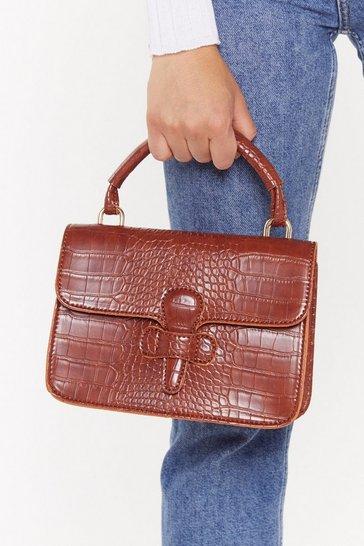 Brown WANT Stop the Croc Faux Leather Satchel Bag
