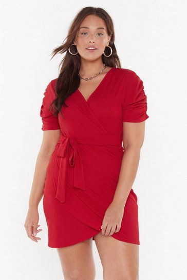 Womens Red Knot Quite Yours Plus Wrap Dress