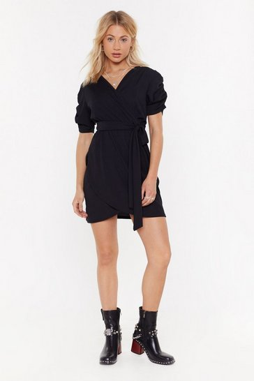 Womens Black That's a Wrap Ruched Mini Dress