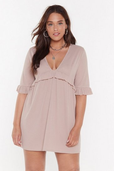 Womens Toffee Smock 'Em Dead Plus Ribbed Dress