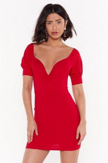 Womens Red Deep 'Em Guessing Off-the-Shoulder Dress