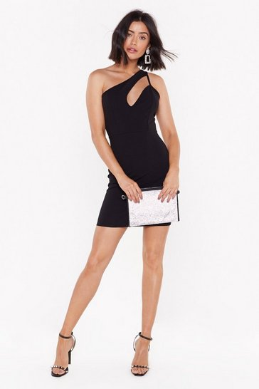 Womens Black Gotta Cut You Out One Shoulder Mini Dress