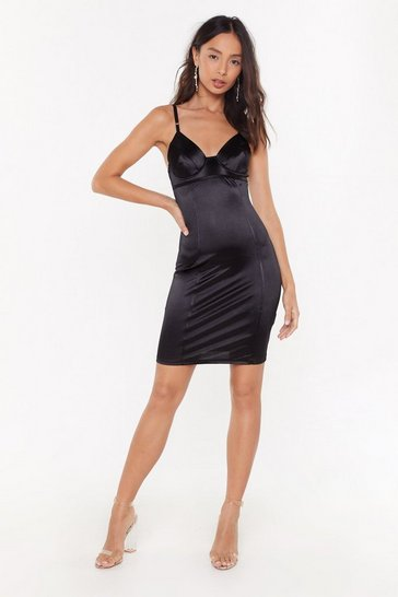 Womens Black Cup to No Good Satin Mini Dress