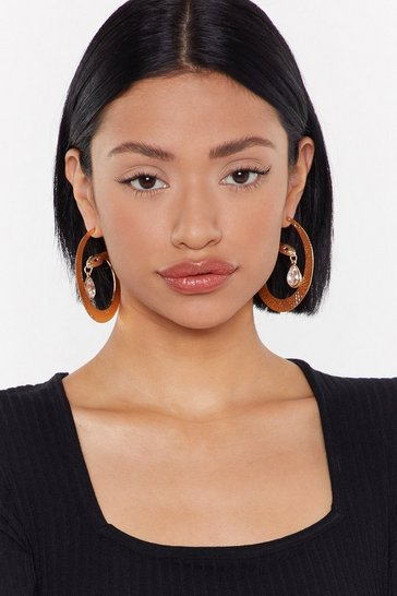 Womens Gold Don't Want to Hiss a Thing Jewel Serpent Hoops