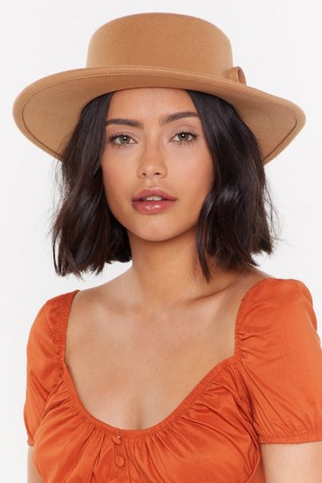 Womens Camel Bow Matter What Wide Brim Hat