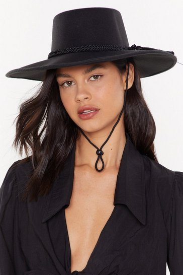 Womens Black If Hat's What It Takes Wide Brim Hat