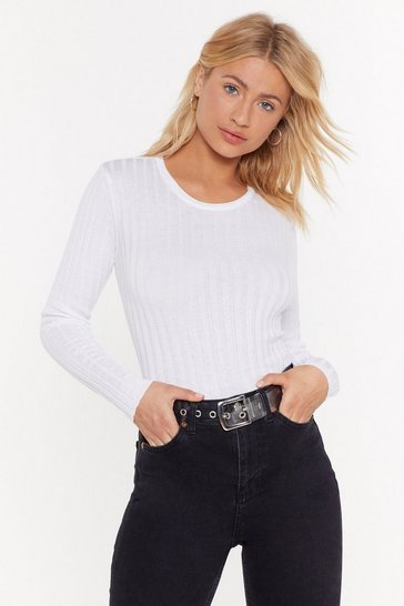 Womens White Our Crew Ribbed Top