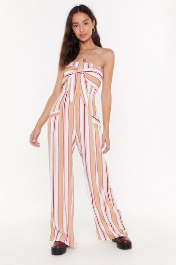 Womens Yellow Stripe Bandeau Wide Leg Jumpsuit