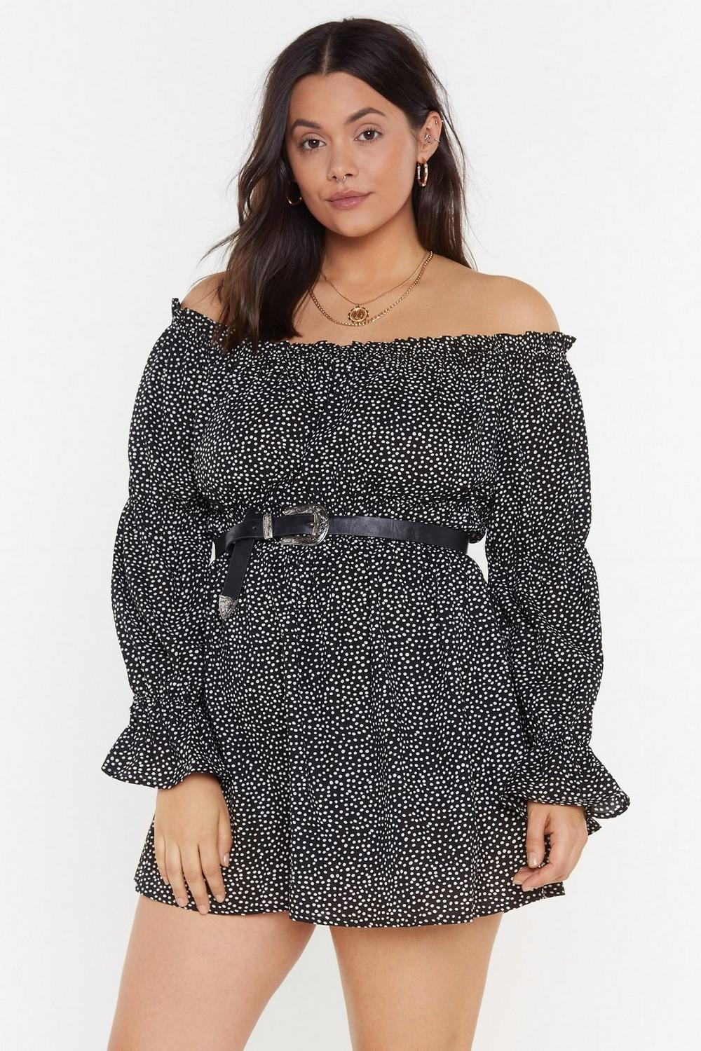 It's Spot Over Polka Dot Off The Shoulder Plus Dress by Nasty Gal