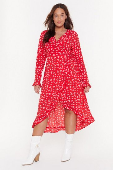 Red Keepin' It Under Wraps Plus Floral Dress