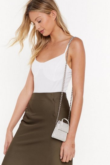 Womens Silver WANT Some Things That Glitter Mini Shoulder Bag