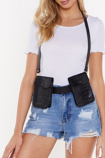Womens Black I'm Off the Croc Multi Pocket Harness Belt