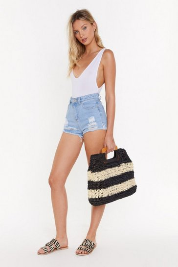 Black WANT Straw of Attraction Square Woven Bag
