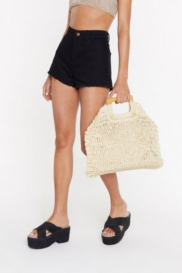 Womens Natural Square Handle Straw Day Bag