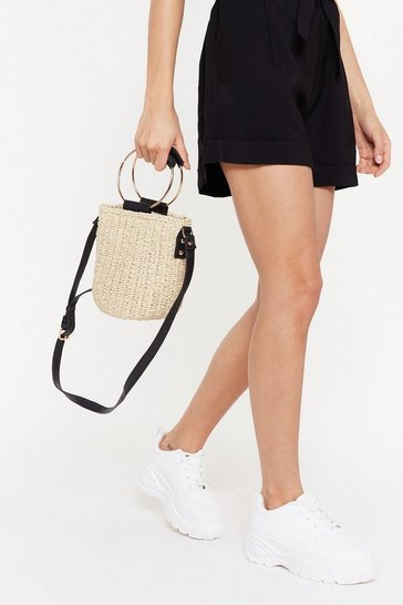 Womens Cream WANT I'm So Ex-straw Woven Circle Handle Bag