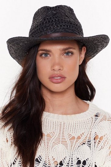 Womens Black Straw It Coming Woven Hat