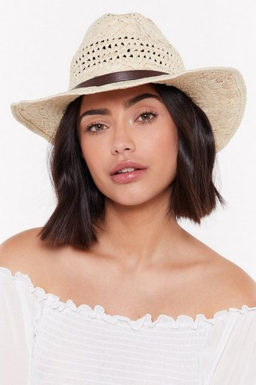 Womens Cream Straw It Coming Woven Hat