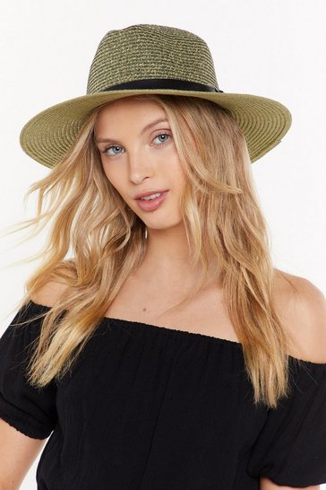 Womens Olive This is the Last Straw Wide Brim Hat