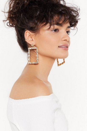 Womens Gold Diamante Embellished Door Knocker Earrings