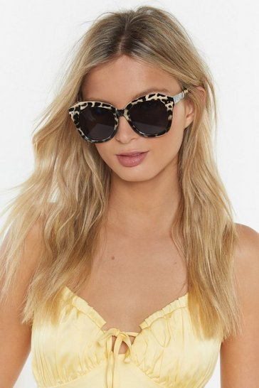 Womens Cream Get Out of My Face Oversized Square Sunglasses