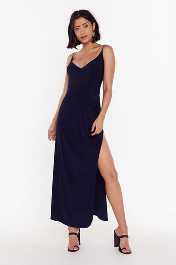 Womens Navy Hot Date Wrap Maxi Dress