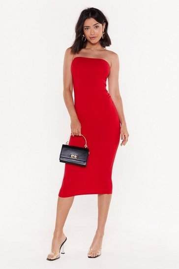 Red body talk midi dress