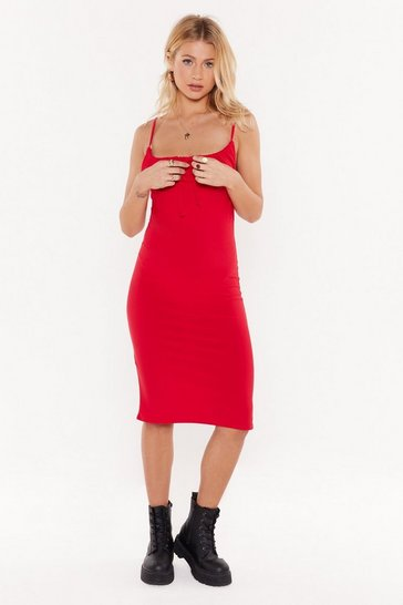 Red Gather Up Square Neck Midi Dress