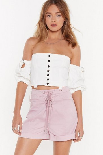 Womens Lilac Which Strings Me to the Point D-Ring Lace-Up Shorts