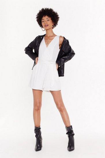 Womens White Belted playsuit