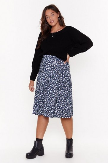 Womens Navy Don't Grow Breakin' My Heart Plus Midi Skirt