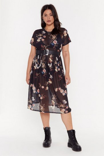 Womens Black Mesh You Can Plus Floral Midi Dress