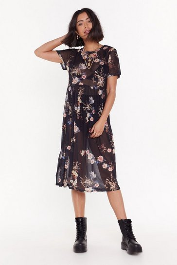 Womens Black Mesh You Can Floral Midi Dress