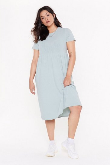 Womens Sage Square Is the Love Plus Smock Dress