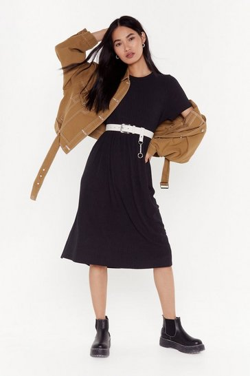 Womens Black You Got The Smock Factor Ribbed Midi Dress
