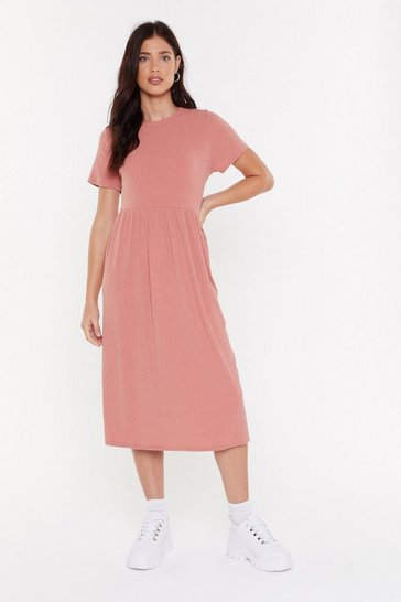Womens Rose You Got The Smock Factor Ribbed Midi Dress