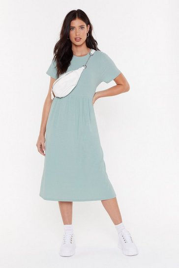 Womens Sage You Got The Smock Factor Ribbed Midi Dress