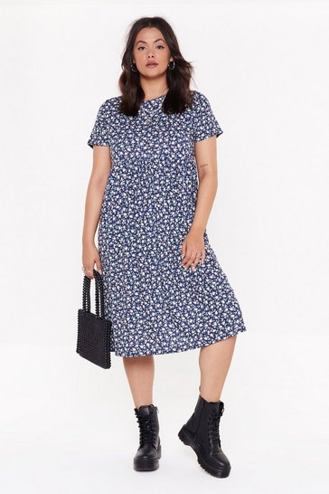 Womens Navy Grow My Gosh Plus Floral Midi Dress