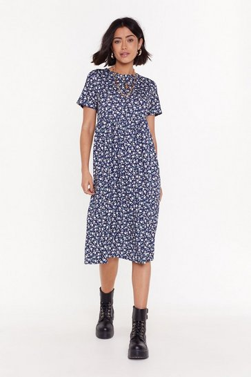 Womens Navy Grow My Gosh Floral Midi Dress