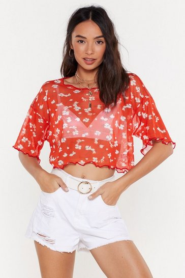 Womens Red Plant Deal With You Floral Crop Top