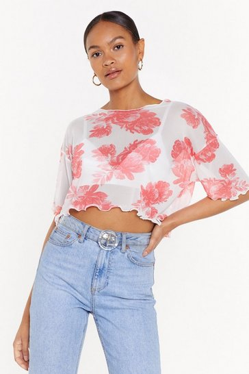 Womens Pink Nothing But Flowers Mesh Crop Top