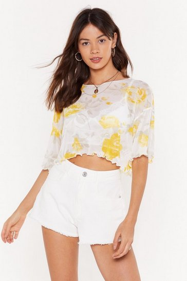 Womens Yellow Large Floral Mesh Lettuce