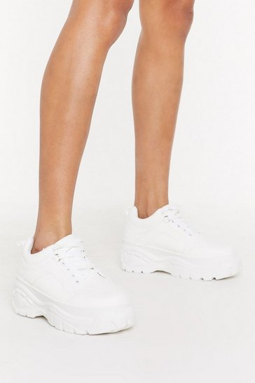 Womens White Better Make Tracks Chunky Faux Leather Sneakers