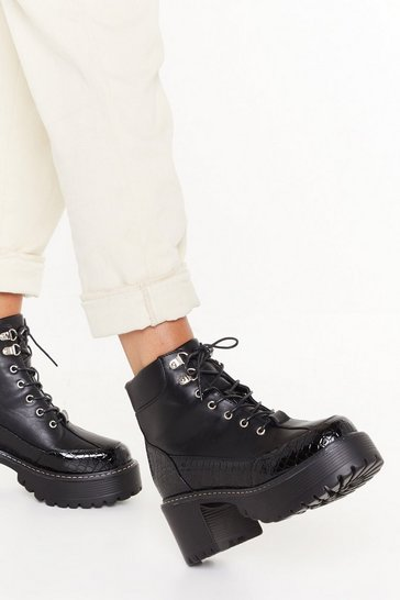 Black Chunky Heel Croc Trim Lace up Boot