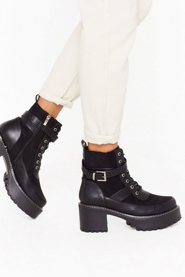 Womens Black Stunning Chunky Cleated Boots