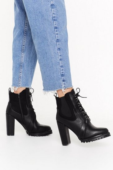 Womens Black Lace Up Cleated Chelsea Heeled Boot
